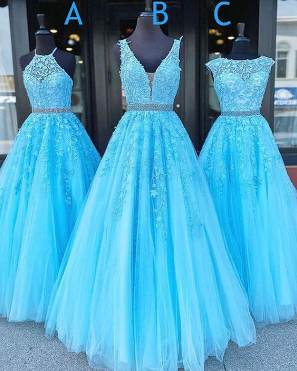 Aqua Blue Lace A Line Prom Dresses Girls Long Formal Gown with Beading Belt Vestido PL01212