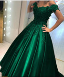 Wine Red /Navy Ball Gown Wedding Dress Prom Dresses with Lace Appliqued off the Shoulder 2021