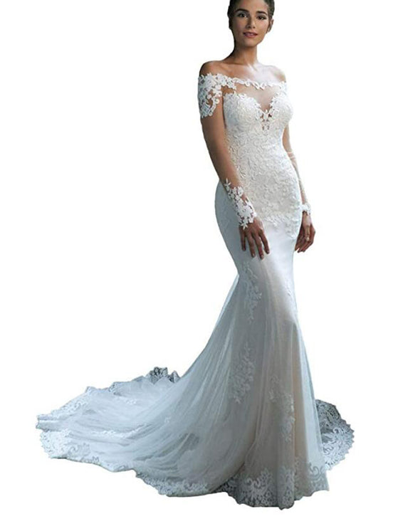 Stunning Women Bridal Gown Mermaid Lace Wedding Dress with Long sleeves WD01203
