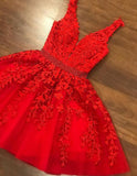 Amazing Junior Homecoming Gown Dark Red Lace Short Prom Dresses 2021 SP2018