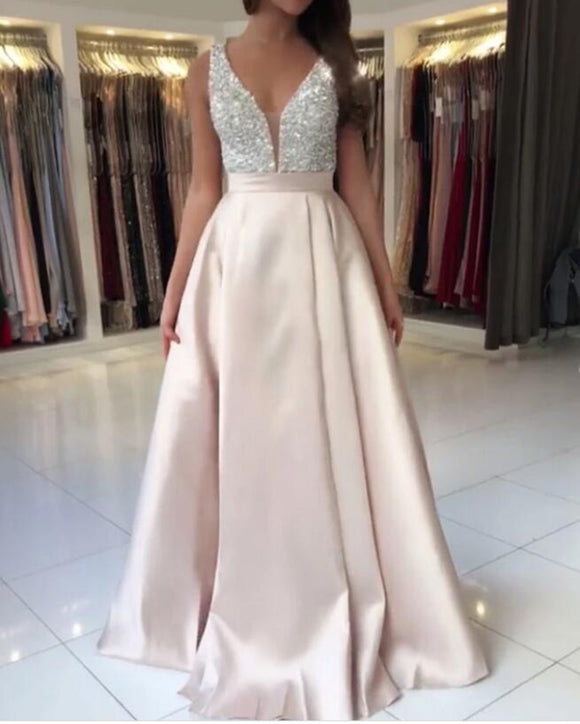 Classic Light Pink V Neck Satin Beaded Prom dress Formal Long Evening Gown Party Dress Robe De Soiree