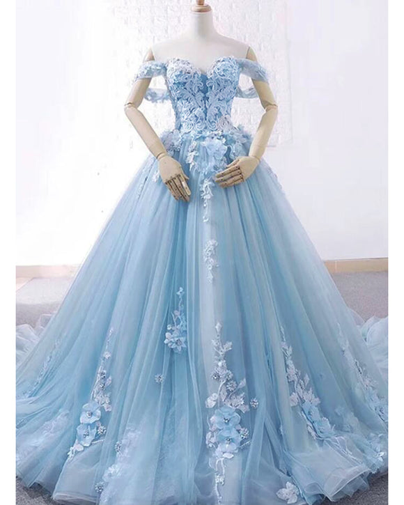 Lace and Tulle Ball Gown Baby Blue Prom Dress cinderella Debutante Birthday Party Dress