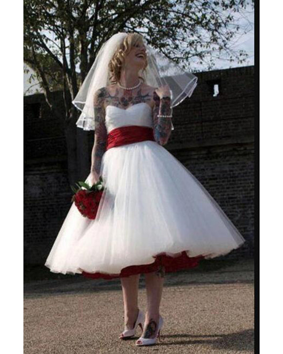 Red and White 1950s Short Wedding Dress,Tea Length Wedding Dress,Strapless Rockabilly Bridal Dress WD10124