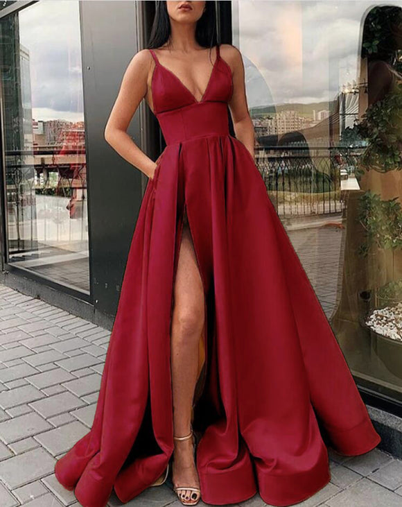 Wine Red /Royal /Yellow Elegant 2020 High Slit Women Prom Dresses Long Formal Gown with Straps PL1254