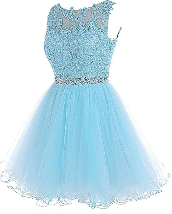 Lovely Sky Blue Lace Puffy Keyhole Back Homecoming Dress Short Prom Dresses with Belt SP10219