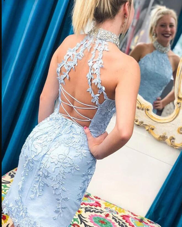 High Neck Beaded Fitted Baby Blue Lace Short Prom Homecoming Dresses 2021, Party Dress Formal Graduation Special Occasion Gown SP10220