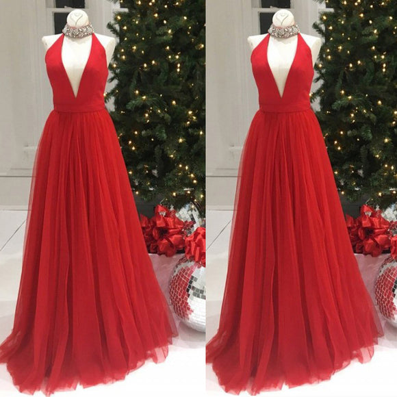2018 halter high Neck Red Long Party Gown Evening Prom Dresses