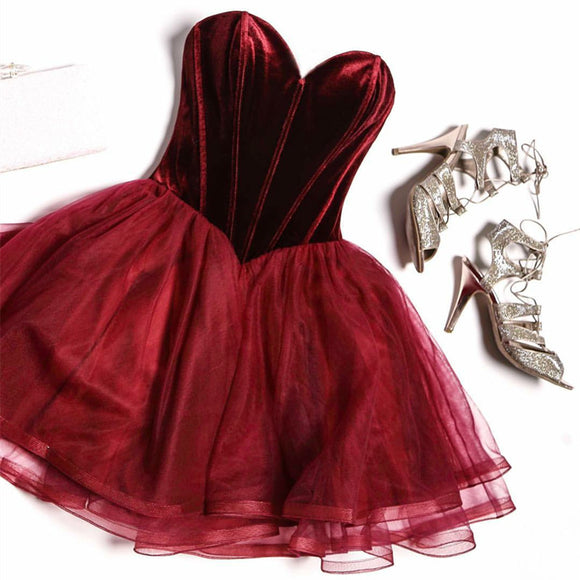 Corset Sweetheart Burgundy Short Velvet Cocktail dress Junior Party Gown Homecoming Dress 2020