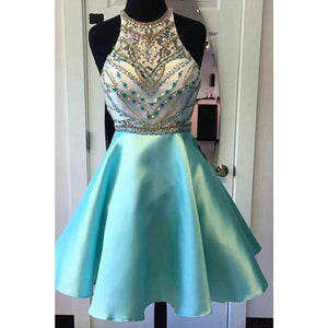 Blue Halter Short Prom Dress for Junior ,Blue Beaded A Line Semi Formal Gown,Short Homecoming Dresses