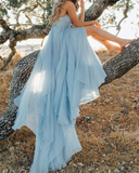 Flowing Chiffon Blue V Neck Long Split Prom Dresses Formal Evening Gown ,Bohemian Wedding Dress PL214