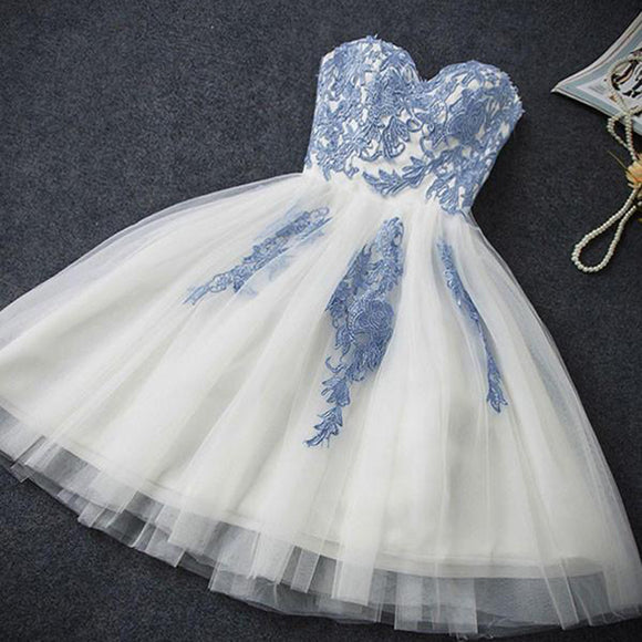 SP547 Chic Lace Ivory and Blue Short Prom Dress,Cocktail Party Gown,Semi formal Homecoming Dress