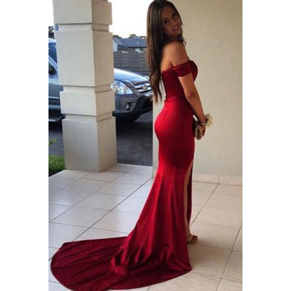 Off The Shoulder Burgundy Fitted Prom Gowns Sexy Split Evening Dresses Long