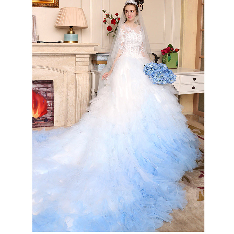 Blue And White Wedding Gowns: Luxury Ombre Wedding Dress White/Blue Short Sleeves Lace