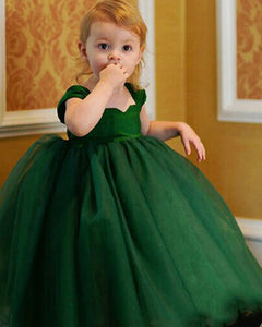 Princess Dark green Ball Gown Baby Flower Girl Dress ,Kids Party Dress with Straps ,Pageant Formal Gown for Little Girl PL01030