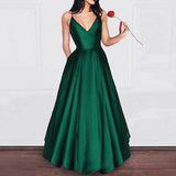 Amazing Elegant A Line Dark Red Satin Prom dress Girls Graduation Gown 2019 Party Dress LP856