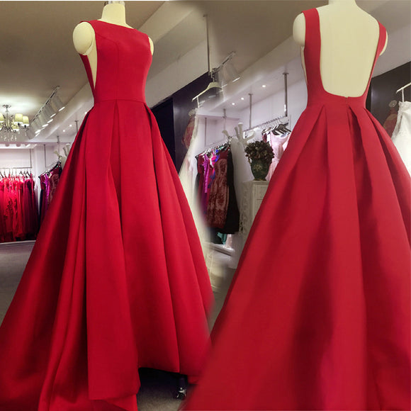 Fashion Red Boat Neck A Line Satin Prom Dresses Long Evening Formal Wear 2018 Vestido De Festa