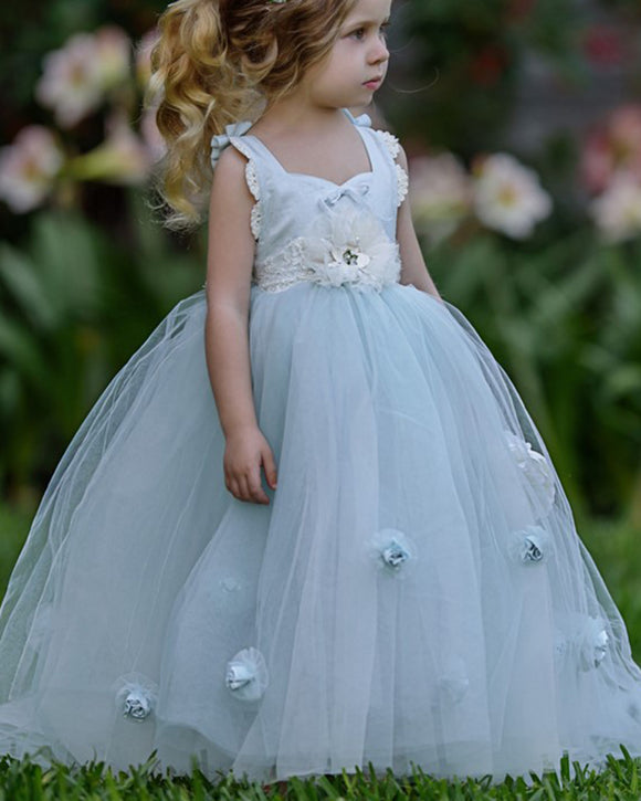 Lovely Blue Flower Girl Dress Kids Party Dress, Little Girls Birthday Dress ,Wedding Dress for Girls FG1015
