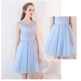 Scoop Neck Light Blue Short Prom Dresses Lace Girls Junior Graduation Dress for 8th Grade