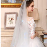 Luxury Ombre Wedding Dress White/Blue Short Sleeves Lace Bridal Gown WD714