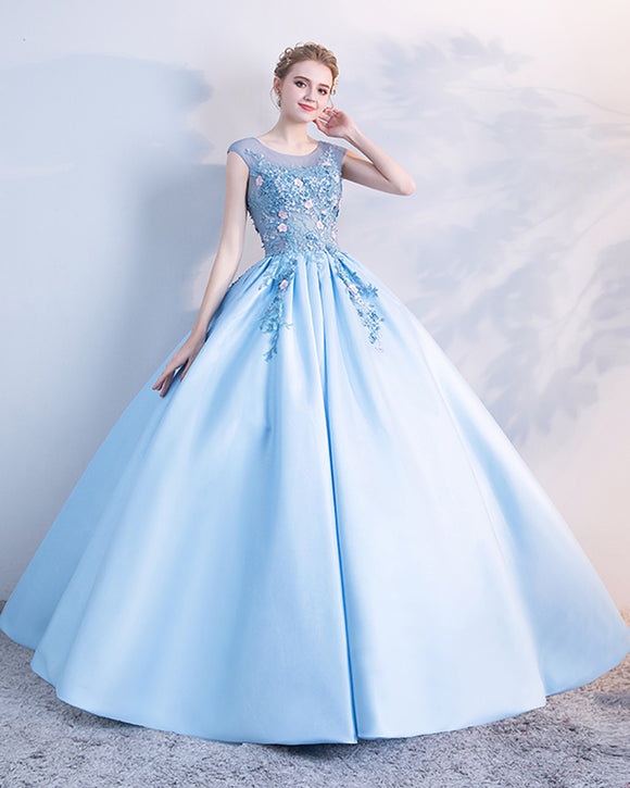 Sky Blue Cap Sleeves Beading and Floral Ball Gown Prom Dress,Sweet 16 Dress,Engagement Gown PL1005