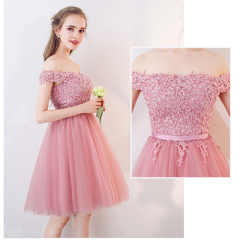 3ce46f6ff7d5 ... Pink Short Prom Dress For Teens Homecoming Semi Formal Gown Graduation  Dress ...