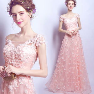 Gorgeous Coral Pink Short Sleeves Girl Prom Dresses Long with Lace Flowers 2020 Evening Party Gown LP6610