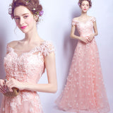 Gorgeous Coral Pink Short Sleeves Girl Prom Dresses Long with Lace Flowers 2018 Evening Party Gown LP6610