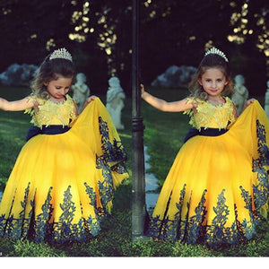 LP1332 Yellow and Black Flower Girl Dress Child Pageant Dress Lace little Girl Birthday party Gown