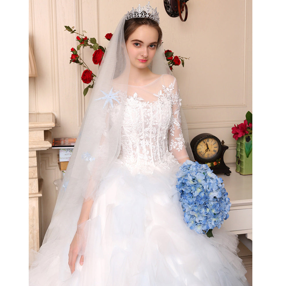 Ombre Wedding Gown: Luxury Ombre Wedding Dress White/Blue Short Sleeves Lace