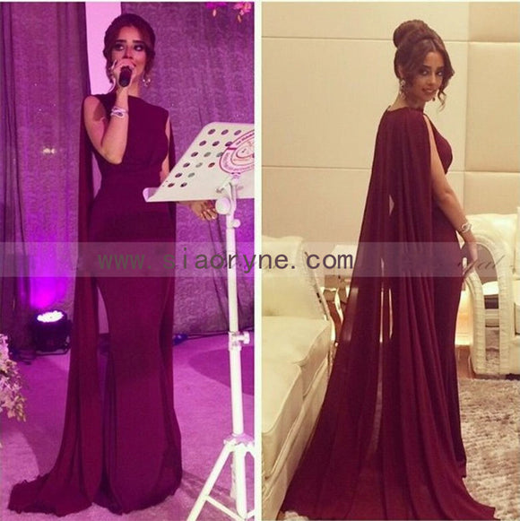 6da042f05d89 Women Burgundy/Red Long Evening Dress with Cape Arabic Formal Gown Mermaid  Gown 2018 LP5570