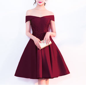 Dark Red A Line Short Prom Graduation Dress Girls Junior Prom for 8th Grade Homecoming 2018