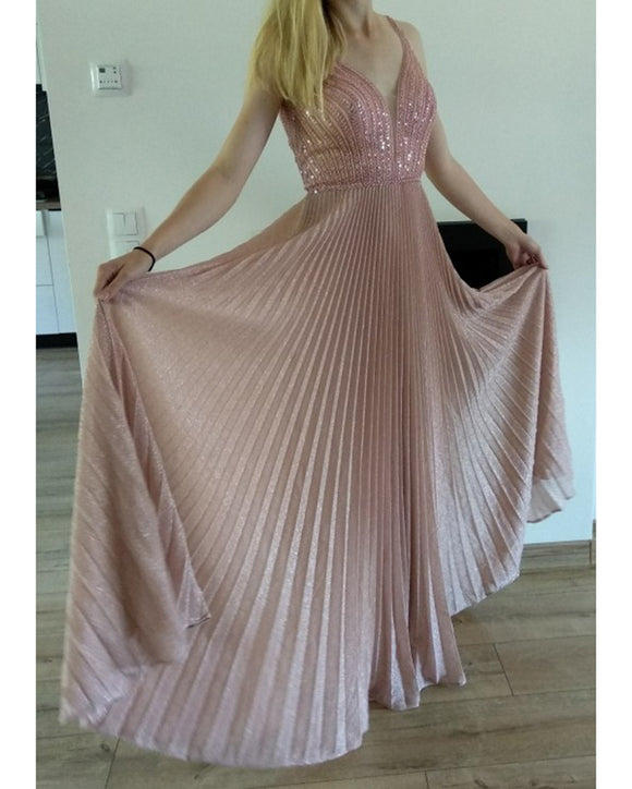 Siaoryne Online Shop Stunning Price Sexy V Neck Pink Prom Dress ,Long Formal Gown vestidos formales for Cheap Price PL1016