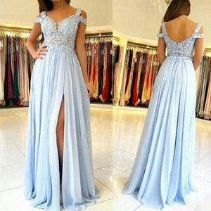 Light Blue Drop Shoulder Slit Chiffon Lace Prom Dress Graduation Long Formal Wear Girls Party Gown LP0515