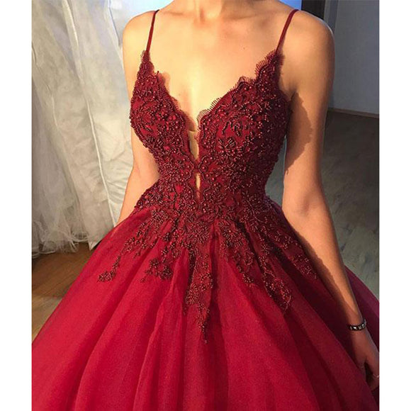 Classy Beaded  Burgundy Prom Dress Ball Gown Spaghetti Women Wedding Reception Gown WD0509