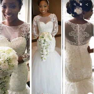 Vintage Long Sleeves Lace Beading Bridal Dresses African Mermaid Wedding Gown