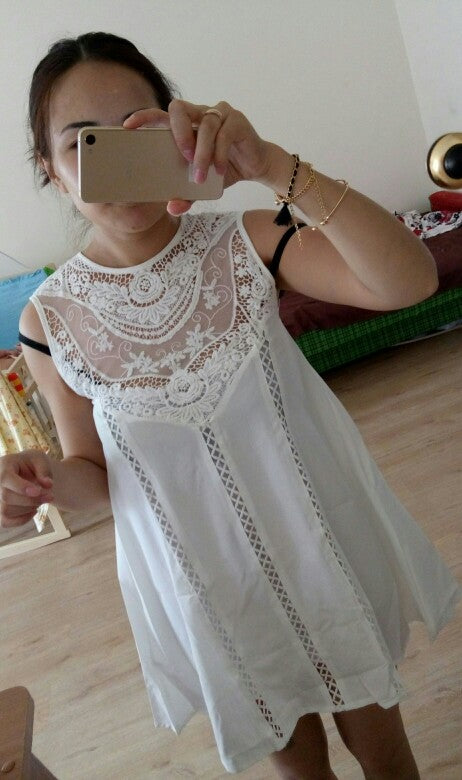 08bd85cc510 ... Classy White Sundress Casual Summer Spring Autumn Beach Wear Lace  Dresses Sleeveless 2018 Vestido ...