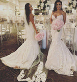 Ivory Luxury Lace Mermaid Wedding Dresses with Spaghetti Straps WD3321