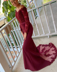 Burgundy Long mermaid Prom Dress Vintage Bridesmaid Dress Wedding Party Lace Gown for Women PL1007