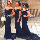 Elegant Lace Appliques Mermaid Off the Shoulder Bridesmaid Dress Navy Women Formal Gown