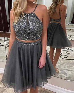 Sparkly Crop Top Short Girls 8th Graduation Dresses Gray Homecoming Dress with Beading