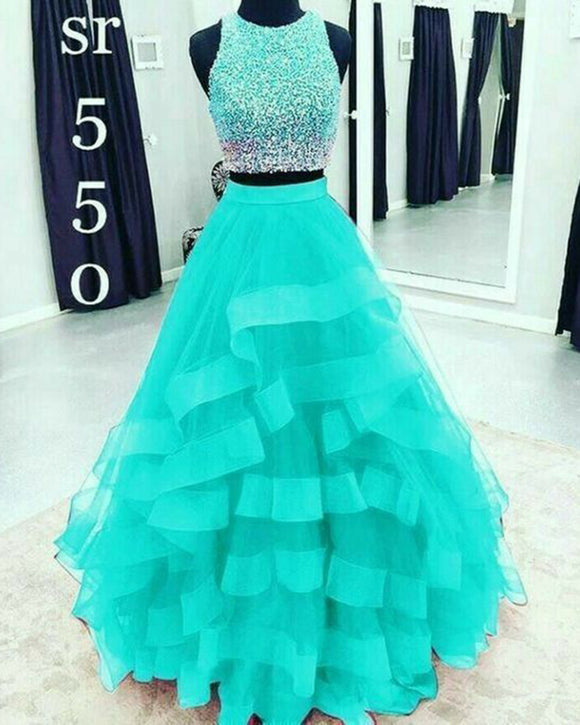Beautiful Mint /Royal Blue Crop Top Prom Dress Girls 2 Pieces Ombre Beading Formal Gown PL0914