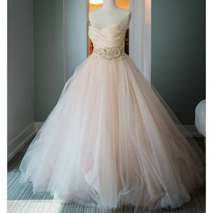 Blush Pink Sweetheart Ball Gown Princess Wedding Dresses with Beading Belt