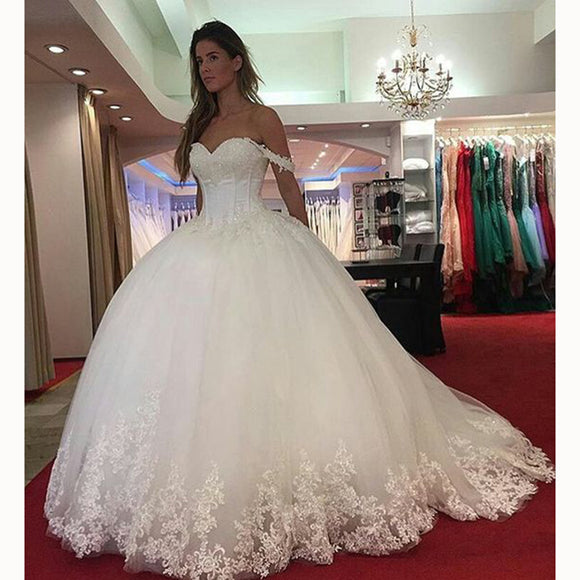 Romantic Lace Ball Gown Bridal Dresses Custom Made off the Shoulder Princess 2018 Wedding Gown Robe De Mariee WD5543