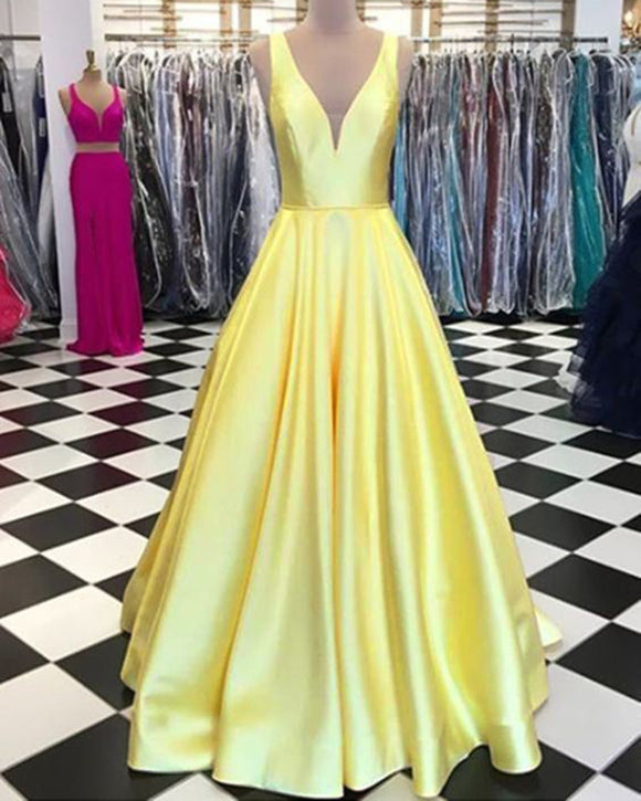 Elegant Satin A Line Yellow 2020 Prom Dresses Long for Girls Graduation PL6650