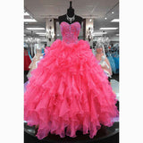 Coral /Pink Princess Ball Gown Sweetheart Diamond Crystal Sweet 16 Prom Party Gown Quinceanera Dresses 2020 LP5548