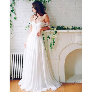 Off the Shoulder Lace and Chiffon Beach Bridal dress Boho White Wedding Dresses