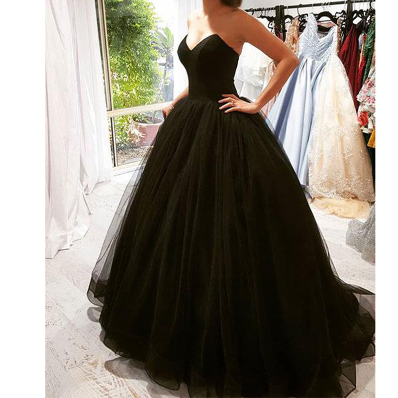 2020 Black Tulle Backless Prom Dress Ball Gown Girls Evening Long Form Siaoryne