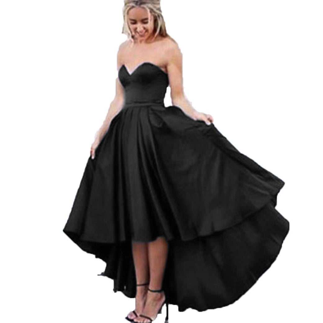 51b1ea7d6e2 ... Sweetheart Navy Blue Front Short Long Back Satin Prom Dresses formal  Gown party Dress ...