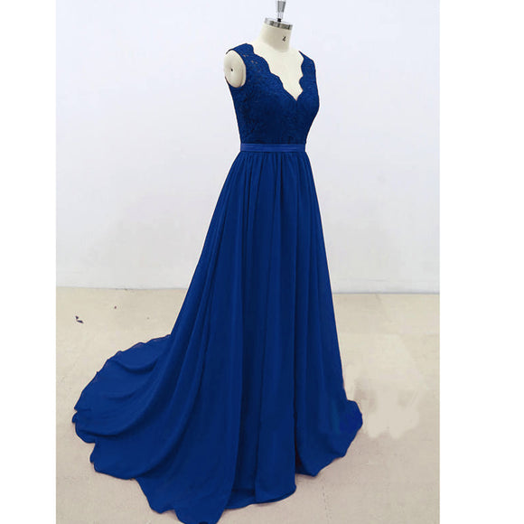 LP1471 Lace Chiffon Cap V neck Prom Dress Long Evening Party Gowns Cheap Vestido De Festa 2018 Formal Gowns