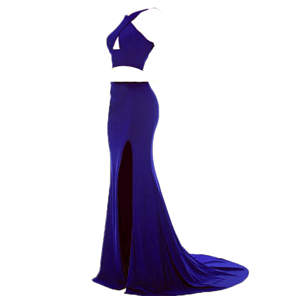 Jersey Crop Top Red Prom Dresses Sexy Halter Fitted Formal Gowns ...